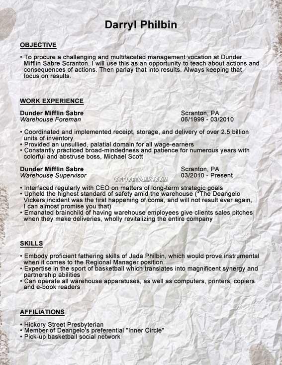 Darryl Philbin resume \u2022 OfficeTally - office resume