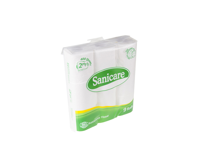 Sanicare Tissue Toilet Paper 2 Ply 9 Pack Office