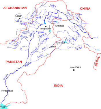 Map of the Indus River basin (by Kmhkmh / Wikipedia, Creative Commons Attribution 3.0 Unported).