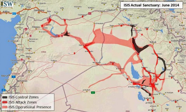 "ISIS: Actual Sanctuary, June 2014 (Source: Jessica Lewis, ""Updated Map of ISIS Sanctuaries in Iraq and Syria"", Institute for the Study of War, 10.06.2014)."