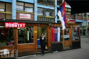 In northern Kosovo, you can see only Serbian flags, which show the true belonging of the people. A shop displays Serbian flags in northern Mitrovica on May 10, 2008 in Mitrovica, Kosovo. (Photo: Samuel Aranda/Getty Images)