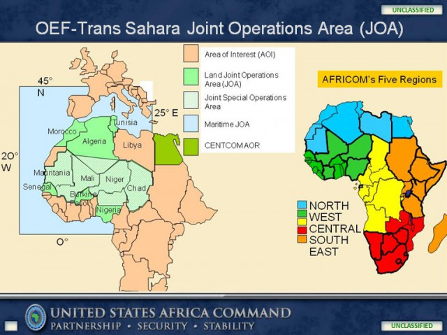 Operation Enduring Freedom - Trans Sahara (OEF-TS) Joint Operations Area (JOA) map from a 2011 U.S. Africa Command briefing.