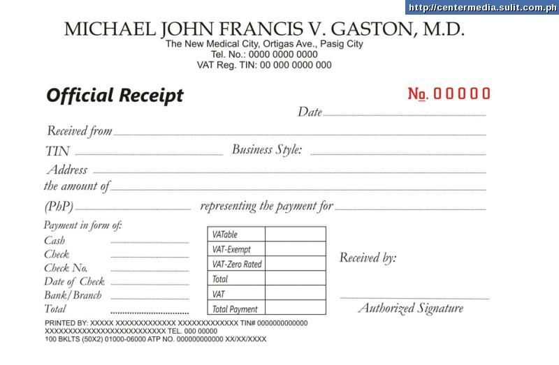 Sales Invoice Official Receipt – Sample of Official Receipt Form