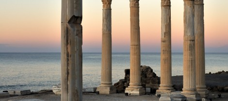 The ruins of the Temple of Apollo at Side, Antalya, Turkey.