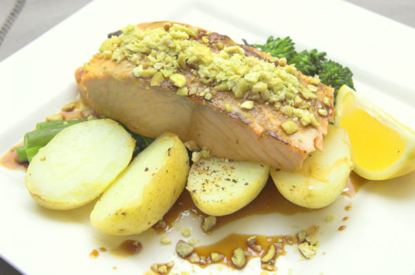 Salmon with wasabi and soy glaze