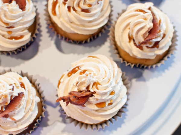 Maple syrup and bacon cupcakes