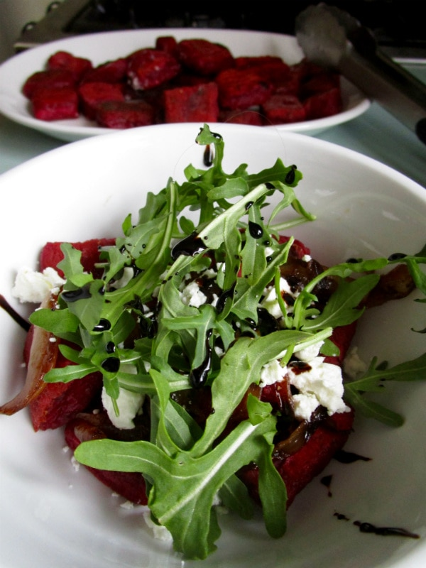 Beet Gnocchi with Caramelized Onions and Goat Cheese