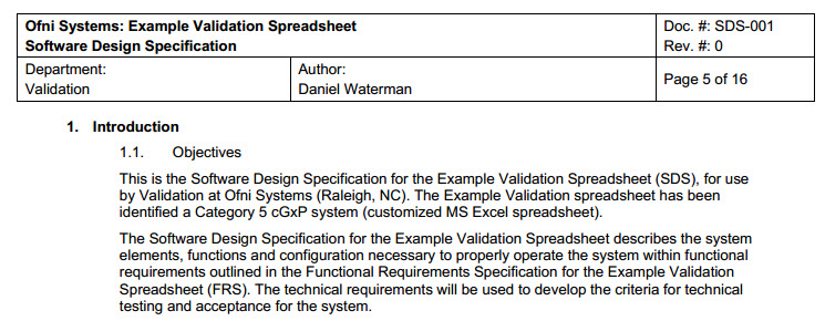 FastVal Design Specification Template Ofni Systems