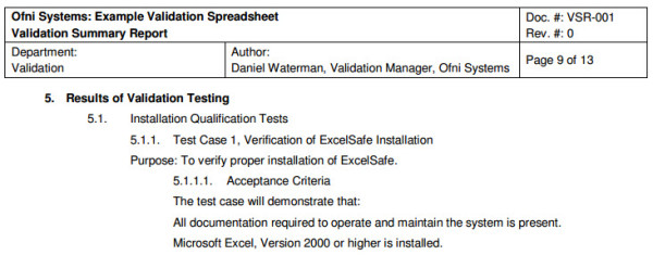 FastVal Validation Summary Report Template Ofni Systems