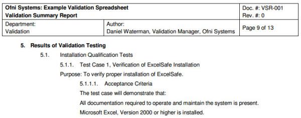 FastVal Validation Summary Report Template Ofni Systems - summary report template