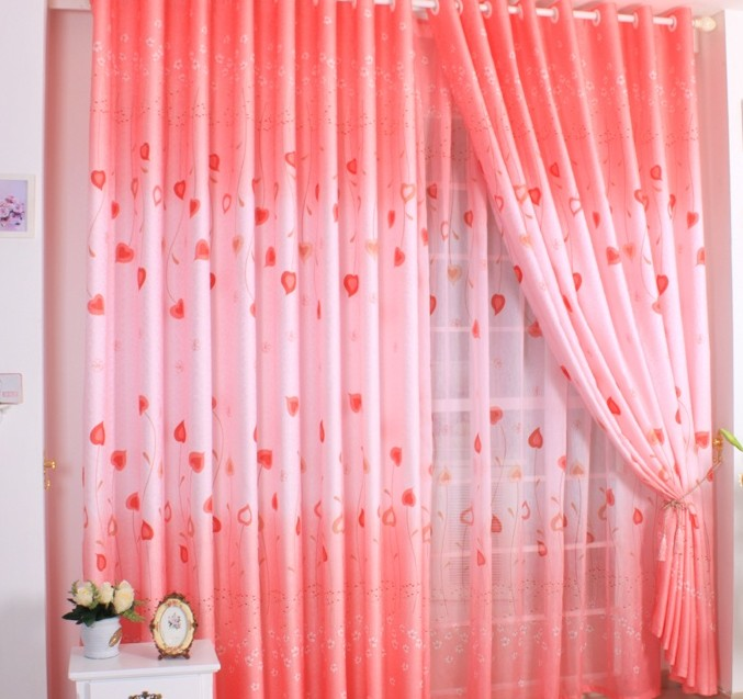 Bright Red Sweetheart Leaves Living-Room Curtains, Buy Red Print - red curtains for living room