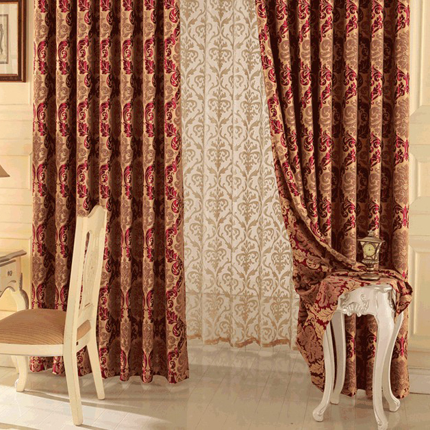 Happy Time Jacquard and Printed Red Living Room or Bedroom - red curtains for living room