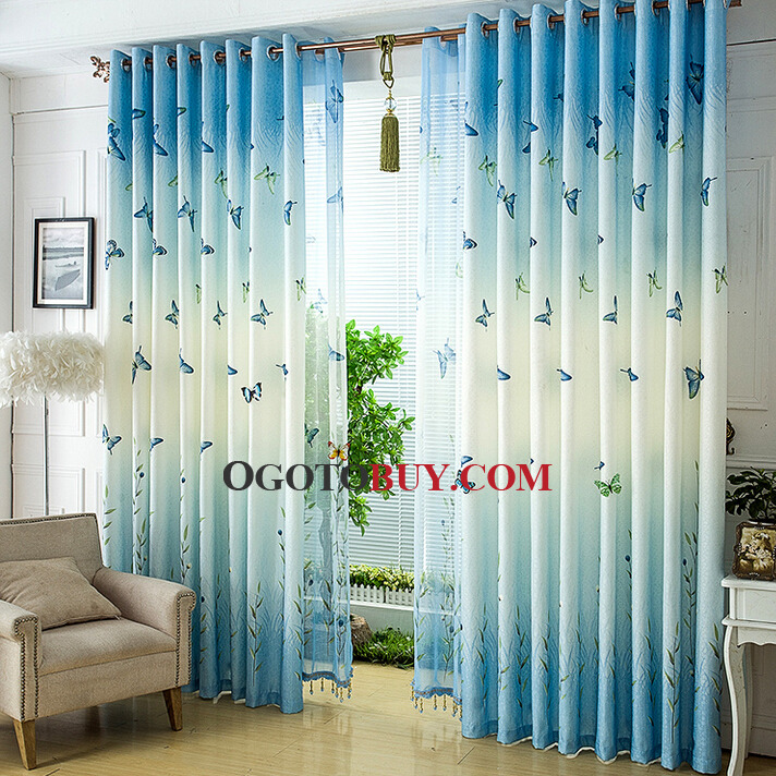 Blue Patterned Curtains Transparent Curtains Patterned Sheers - teal living room curtains