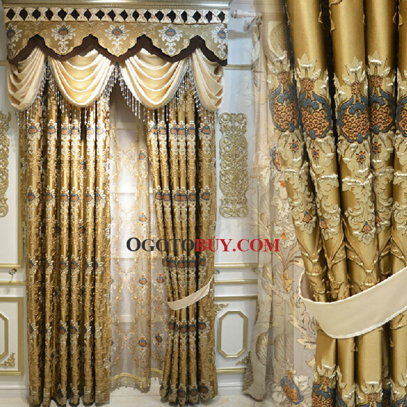 Luxury Gold Color Cotton\/Poly Blend Fabric Living Room Curtain (No - luxury curtains for living room