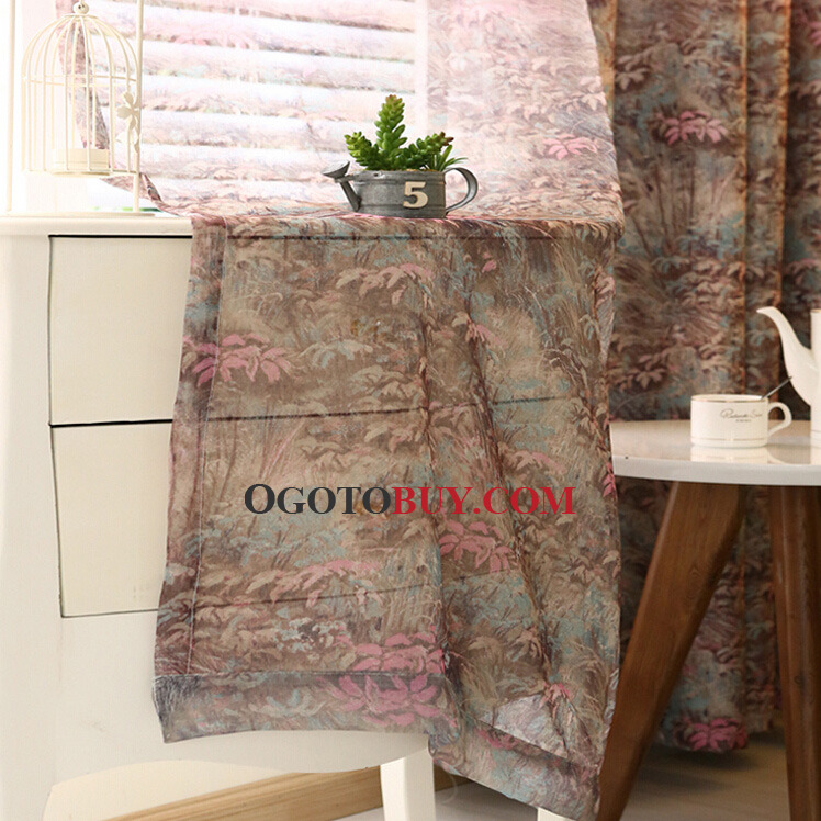 Colorful Primitive Poly\/Cotton Fabric Country Curtains For Living - country curtains for living room