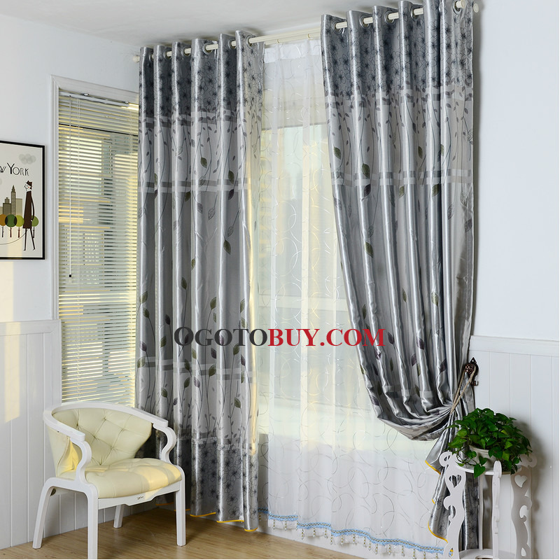 Gray Botanical Print Polyester Country Curtains for Bedroom or - country curtains for living room