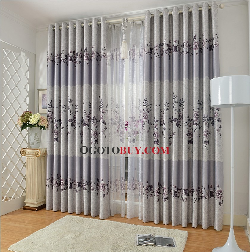 Gray Floral Print Polyester Insulated Country Curtains for Bedroom - country curtains for living room