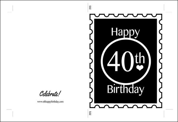 Printable 40th Birthday Card - C # ile Web\u0027 e Hükmedin!