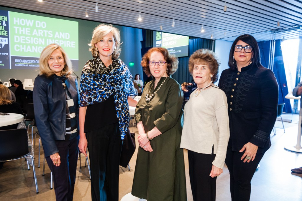 OAG Founders and Co-Chairs Barbara Richter and Harriet Warm with FRESH TALK sponsors Sally Gries, Gries Financial LLC; Jill Snyder, MOCA Cleveland; Lillian Kuri, Cleveland Foundation