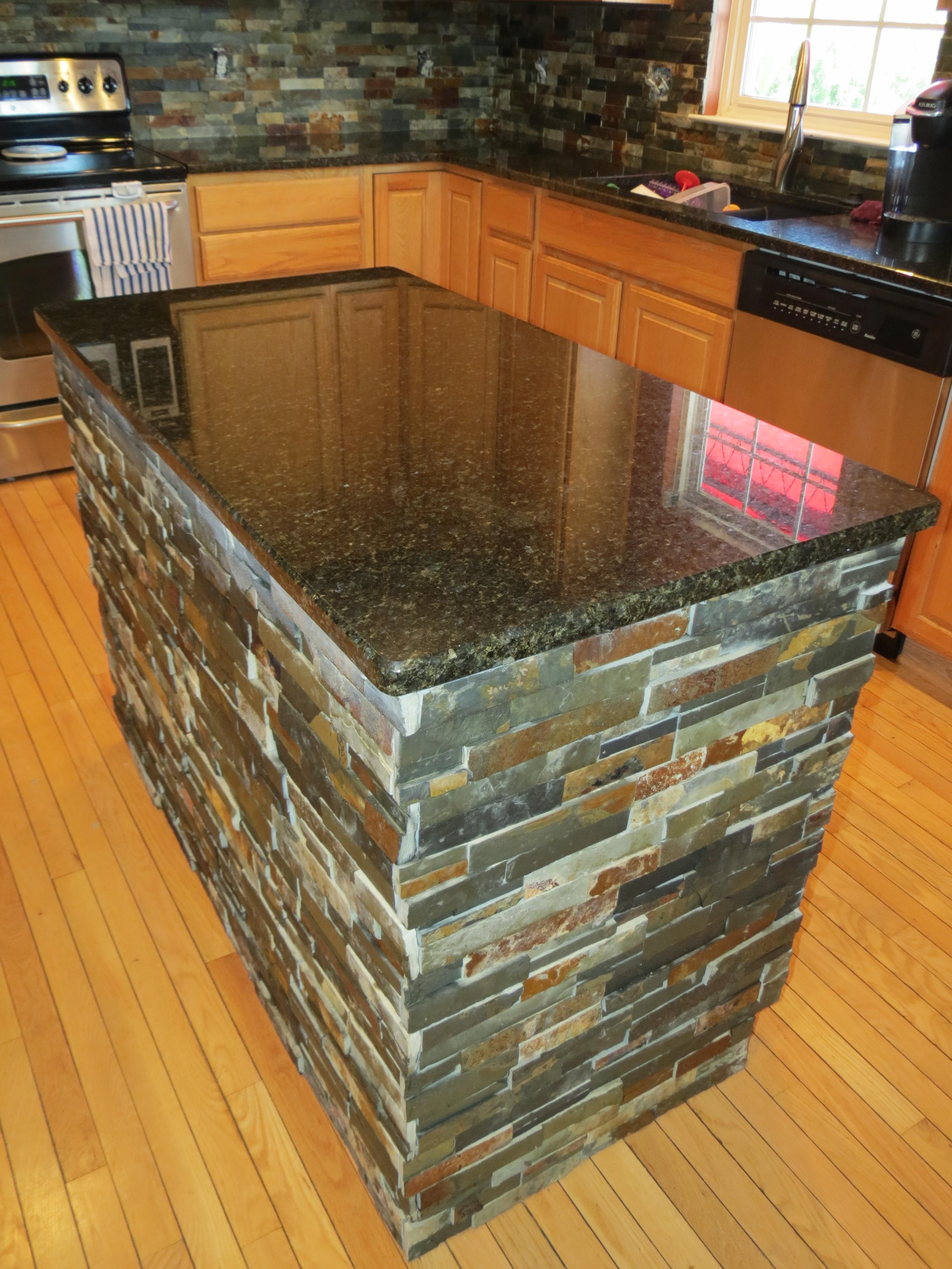 july granite kitchen island Finished Kitchen Island after Granite and Slate Tile Installation