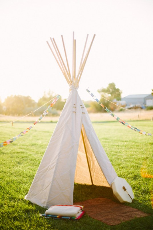 DIY teepee for wilderness bachelorette party