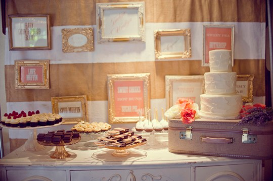peach &amp; pink malibu wedding | dessert display by my sweet and saucy shop