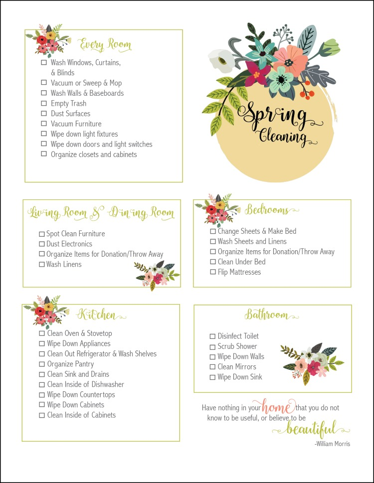 Spring Cleaning Checklist Free Printable - Oh My Creative - spring cleaning checklist