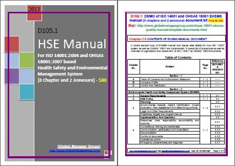 HSE Manual Integrated ISO 14001 and OHSAS 18001 Manual in English