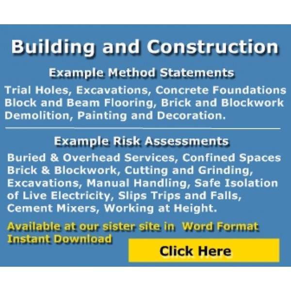 Building  Construction Risk Assessments - example method statements