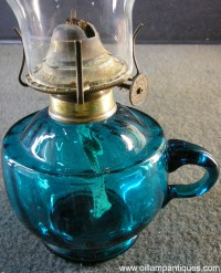 Blue Glass Kerosene Lamp c.1920s - Oil Lamp Antiques