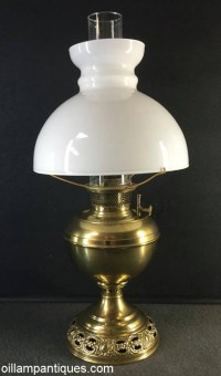 Brass Table Oil Lamp circa 1900 - Oil Lamp Antiques