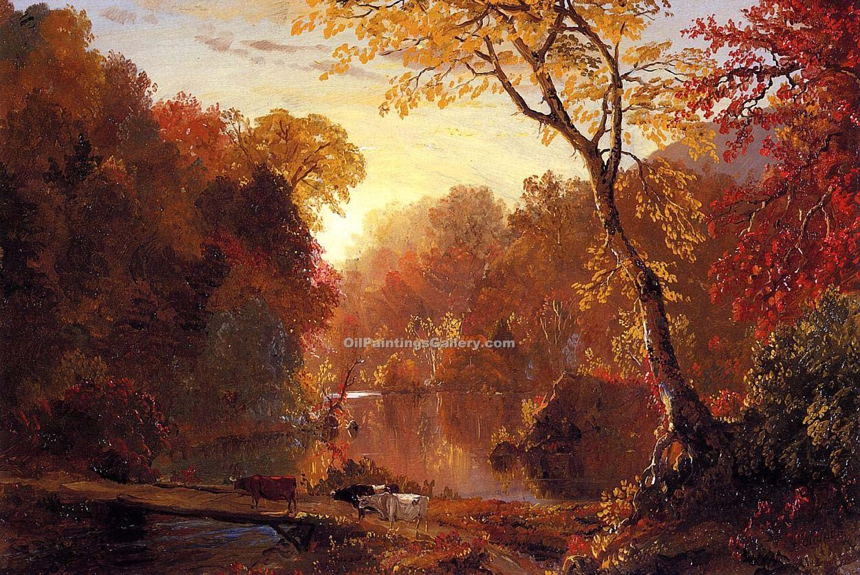 American Paint And Wallpaper Fall River Autumn In North America By Frederic Edwin Church Painting