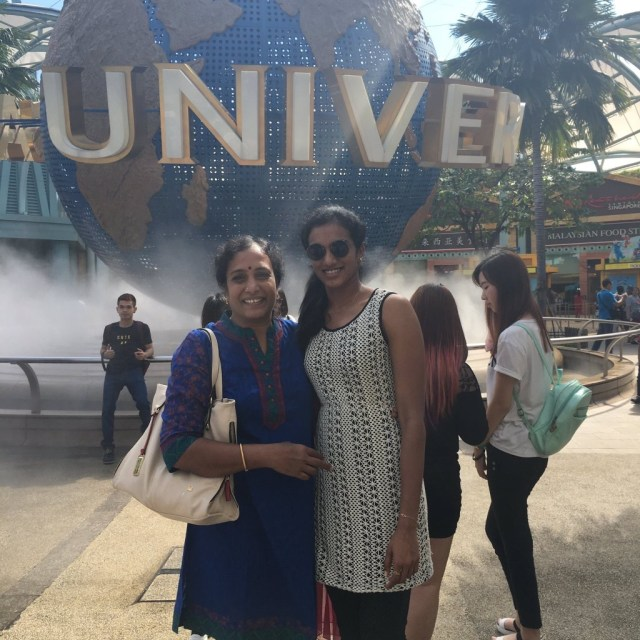 P.V Sindhu with her Mom