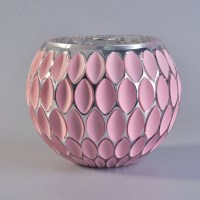 Round pink wholesale mosaic glass candle holders,glass ...