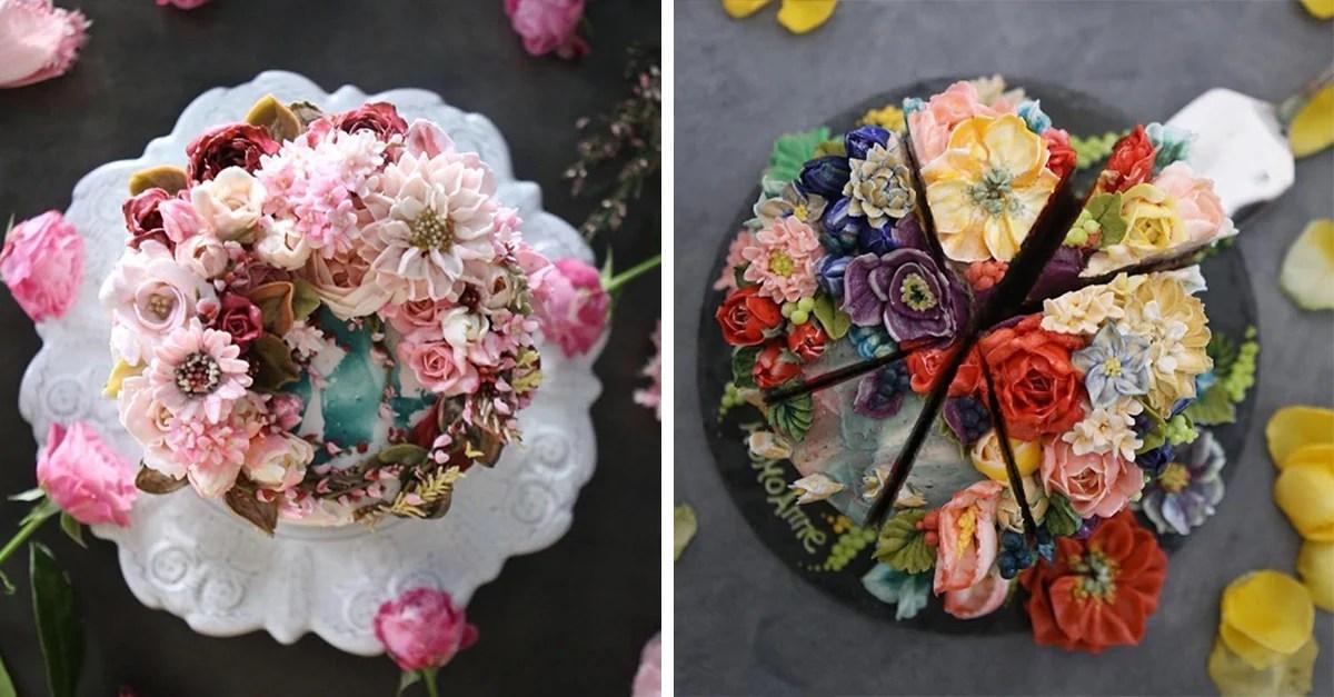 Repostera crea bonitos pasteles que parecen arreglos florales - Arreglos Florales Bonitos