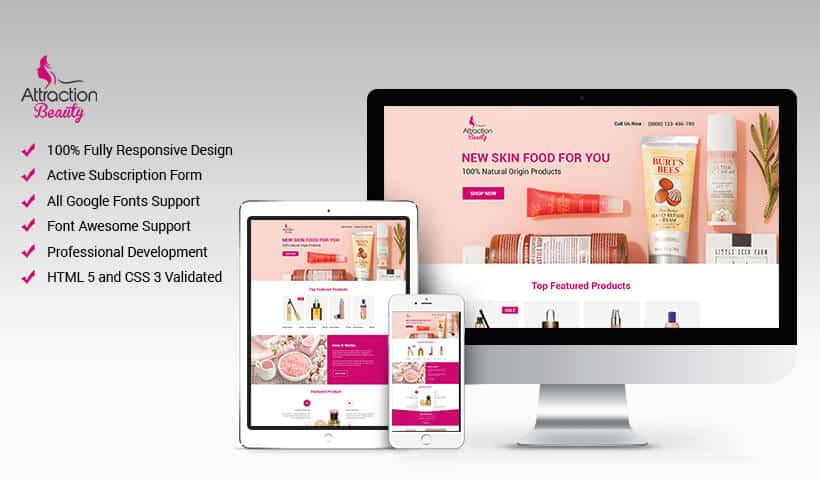 Responsive beauty products landing page design template to maximize