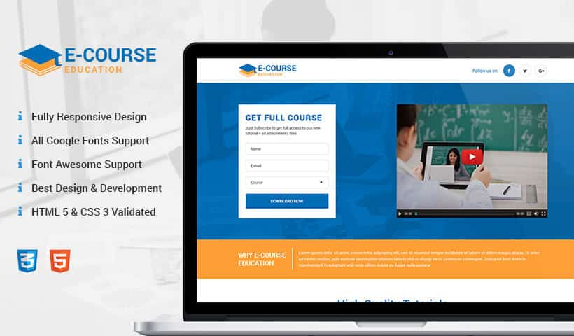 eCourse responsive Education landing page design template for online