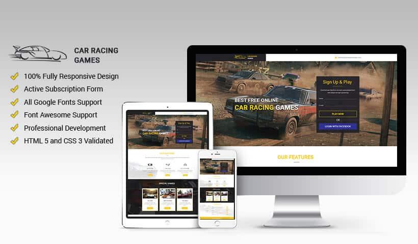 Car Games, Car Action, Car Race and Car Crash HTML Website Template - how to create a website template