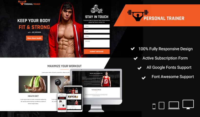 Personal Trainer landing page design Template to promote your talent