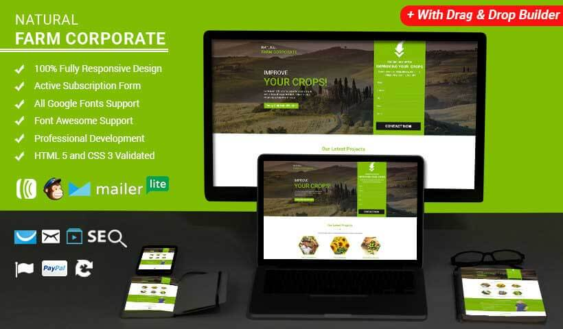 Farm HTML Website Templates Landing Page Template with Free Builder