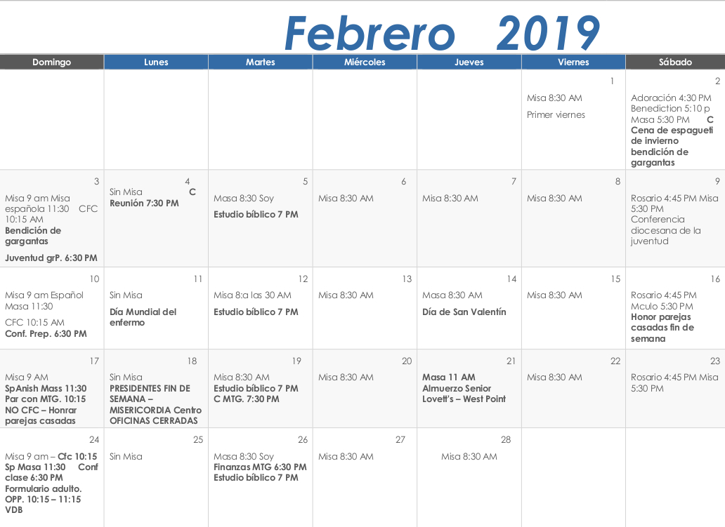 Spanish February 2019 Calendar Our Lady of the Blessed Sacrament