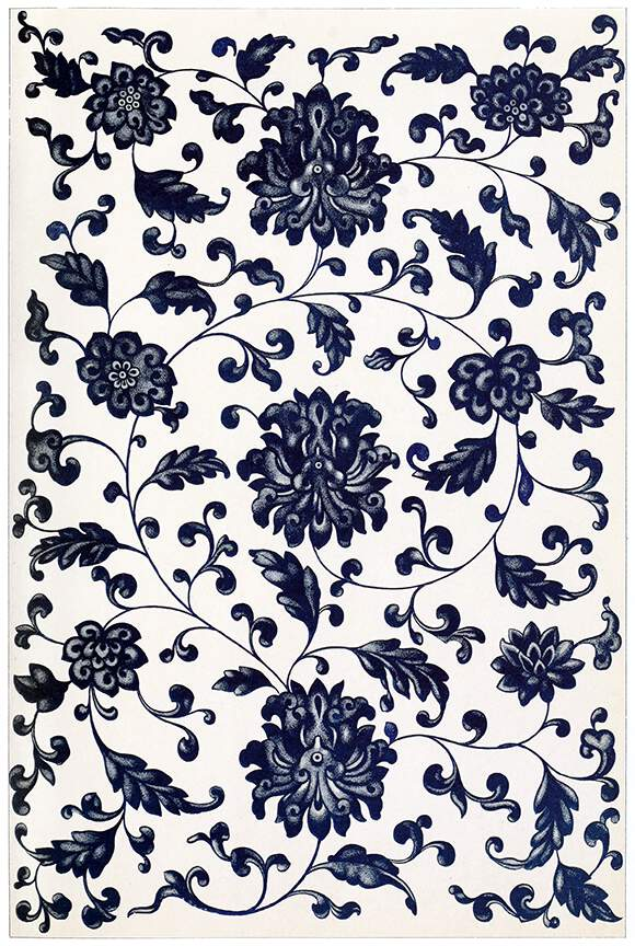 Japanese Art Wallpaper Hd Blue Symmetrical Floral Pattern Old Book Illustrations