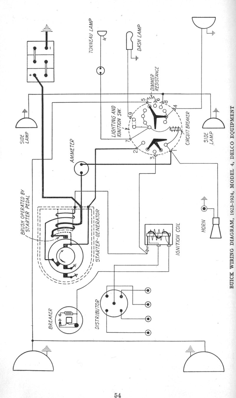 wiring diagrams of 1923 1924 buick model 4