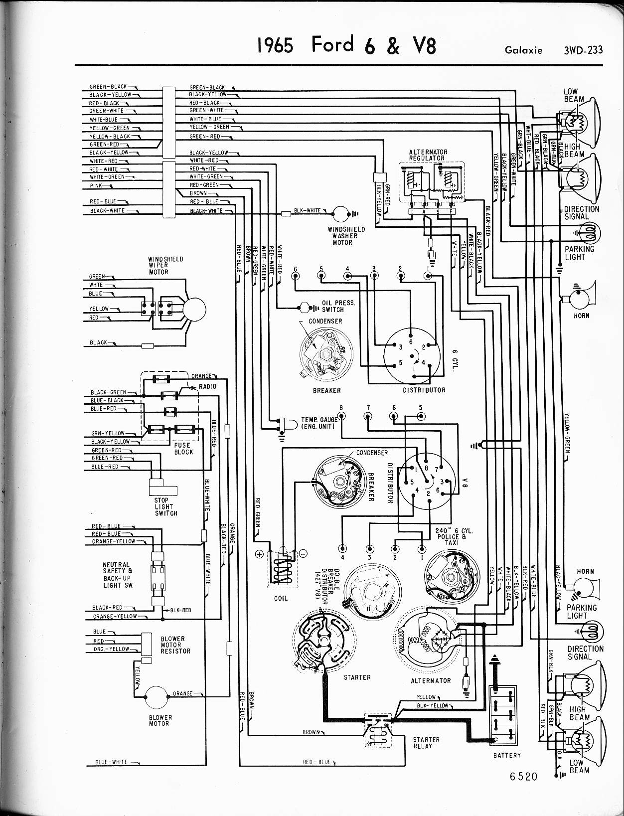1964 ford mustang headlight ledningsdiagram