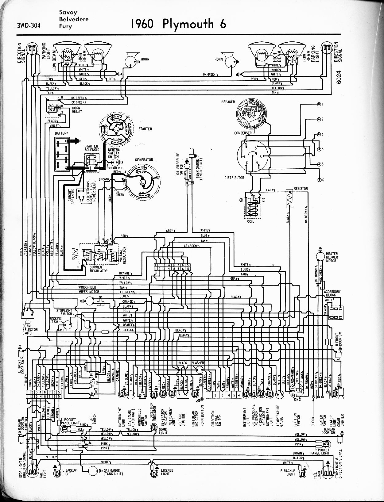 wiring diagrams of 1960 plymouth 6 valiant