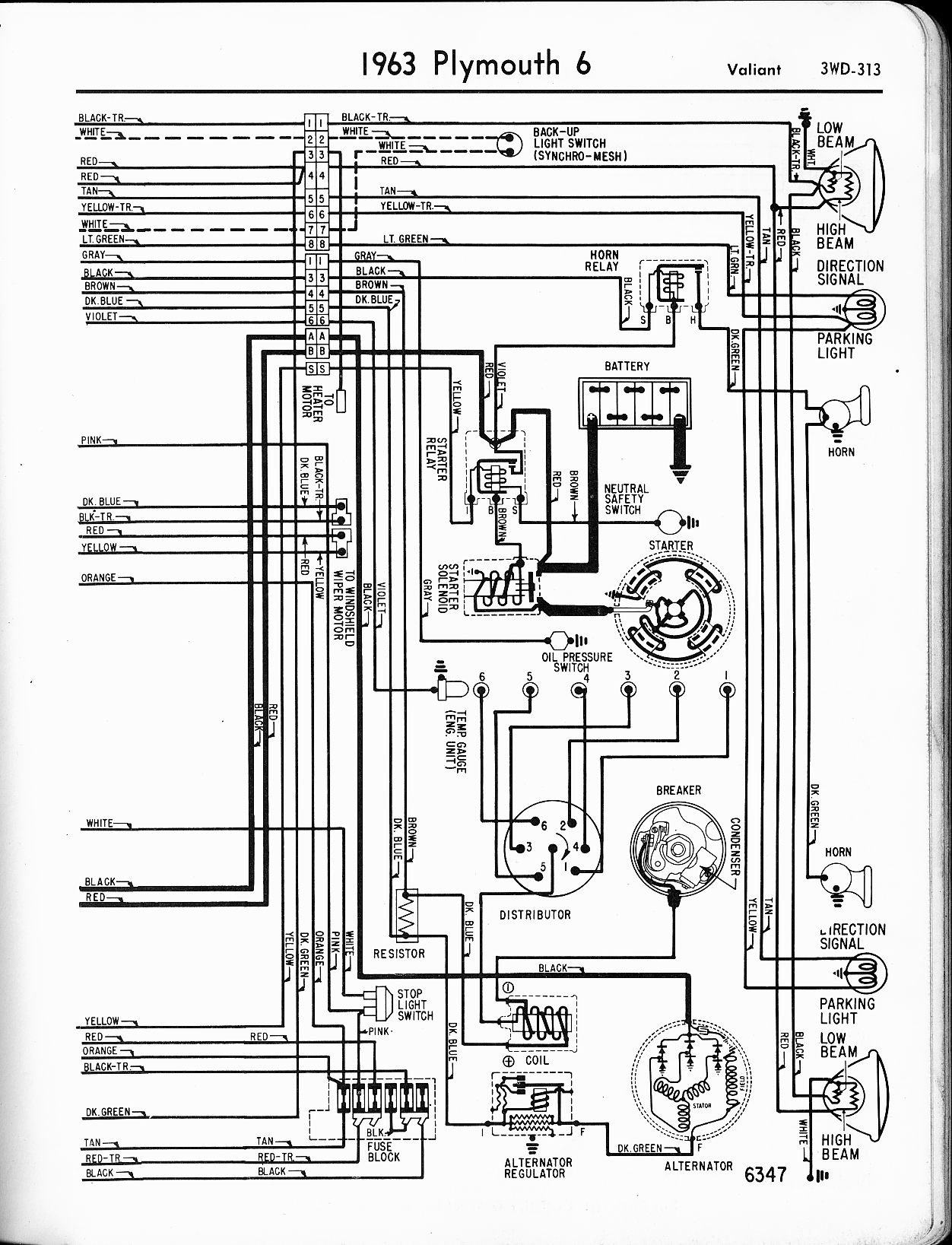 1963 plymouth fury wiring diagram