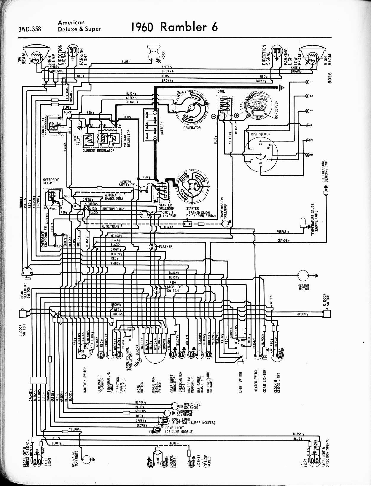wiring diagrams of 1958 rambler 6 american