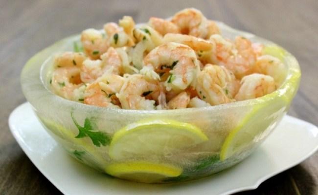 Marinated Shrimp In A Lemon Herb Ice Bowl Olga S Flavor Factory