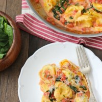 Cheese Tortellini With a Creamy Tomato and Spinach Sauce