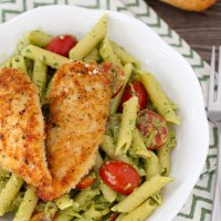 Pesto Pasta With Chicken Tenders, Shallots and Cherry Tomatoes
